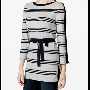 Tommy Hilfiger belted striped tunic sweater gray M